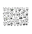 Funny pandas collection sketch for your design vector image vector image