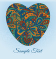 floral doodle card heart ethnic pattern vector image