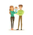 happy smiling man woman and small baby standing vector image