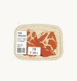 raw pork shoulder in pack sketch vector image
