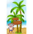 A beach with a monkey near the arrow signages vector image