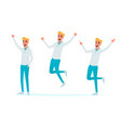 happy young man jumping celebrate in various pose vector image