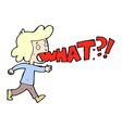 comic cartoon woman shouting what vector image