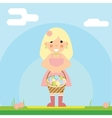 happy girl with basket of Easter eggs sky vector image vector image