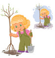 a little girl planting a vector image