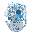 Beautiful card with watercolor flowers Cup of tea vector image
