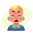Little boy face crying facial expression vector image