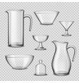 Realistic Glassware Kitchen Utensils Transparent vector image