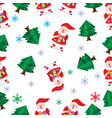 seamless pattern cartoon merry christmas santa vector image