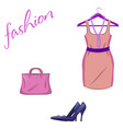 set of trendy women s things on a white vector image