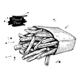 vintage french fries drawing Hand drawn vector image