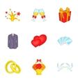 Wedding celebration icons set cartoon style vector image