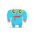 Happy Blue Furry Giant Monster In Star Shaped Dark vector image