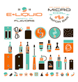 Vape labels e cigarette and fruit flavor icons vector image