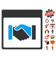 handshake calendar page icon with dating bonus vector image