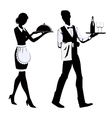 Silhouette waiters vector image