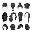 Women Wigs Hairstyle Back Icons Set vector image