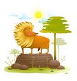 lion animal cartoon in wild nature with trees lawn vector image