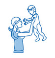 mom holding baby playing image shadow vector image
