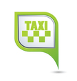 taxi sign on green map pointer vector image vector image