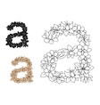 Isolated lowercase floral letter a vector image