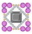 Gemstone rim asscher cut square brooch vector image vector image