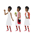 Afro american student girl with a short hair vector image