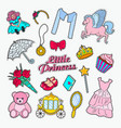 little princess doodle set of stickers badges vector image
