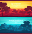 mountains and forest wild nature landscape vector image