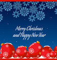 new year snowflakes and toys postcard vector image