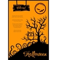 retro graphical poster with Halloween elements vector image