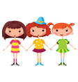 Three little girls vector image