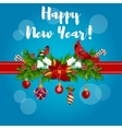 New Year poster with red cardinals vector image