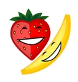 Funny fruits smiling together for your design vector image