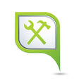 tools icon on green map pointer vector image vector image