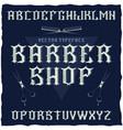 barber shop label font and sample label design vector image
