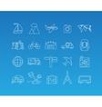 Travel mono line icon set vector image