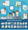 business items icon set vector image