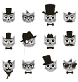 retro gentleman and hipster cat icons set vector image