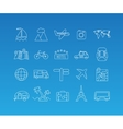 Travel mono line icon set vector image
