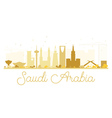 Saudi Arabia golden skyline silhouette vector image