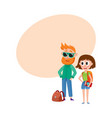 Tourists man in sunglasses and woman with vector image