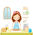 Girl Thresh Flour With TabLet vector image