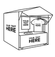 t-shirt selling tent market stall bold lines vector image