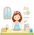 Girl Thresh Flour With TabLet vector image