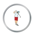 Golfer after kick icon in cartoon style isolated vector image