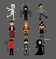 halloween monsters costumes vector image