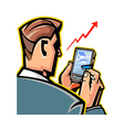 Man holding mobile phone vector image
