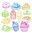 sweeties sketches pastry and bakery cake vector image