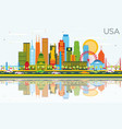 usa skyline with color skyscrapers landmarks and vector image